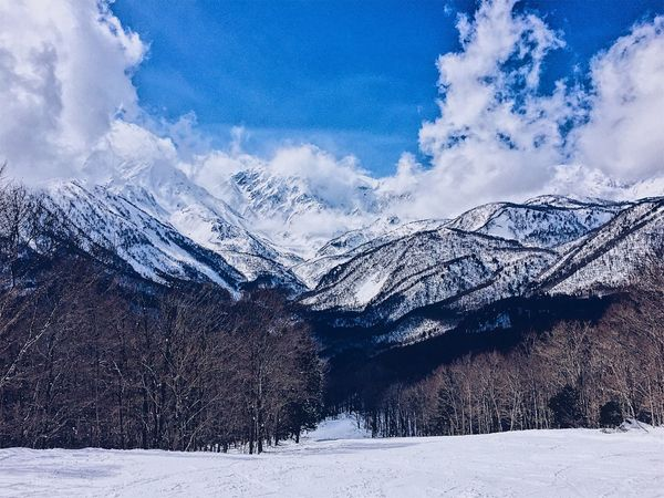 mountain view in Hakuba Nagano Japan Japan Snowboarding Travel Traveling Alps Beauty In Nature Cold Temperature Frozen Hakuba Japan Alps Landscape Mountain Nagano Nature No People Outdoors Ski Sky Slope Snow Snowcapped Mountain White Color Winter 白馬 長野