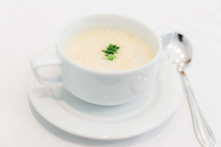 Dinner Time Asparagus Soup Close-up Crockery Cup Dinner Drink Eating Utensil Food Food And Drink Garnish Healthy Eating Kitchen Utensil Mug Ready-to-eat Refreshment Saucer Soup Spoon Still Life Table Tea Cup Vegetable Soup White Color White Plate