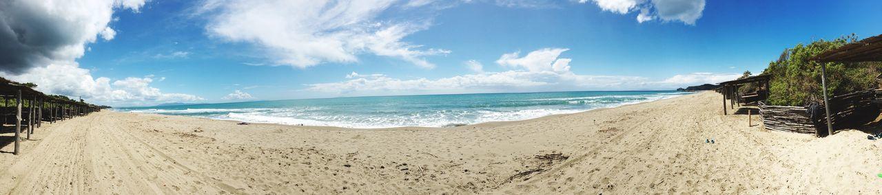Panorama Panoramic Photography Beach Beachphotography Holiday Sand Ocean Tuscany Width Blue Sky Roccamare Castiglione Della Pescaia
