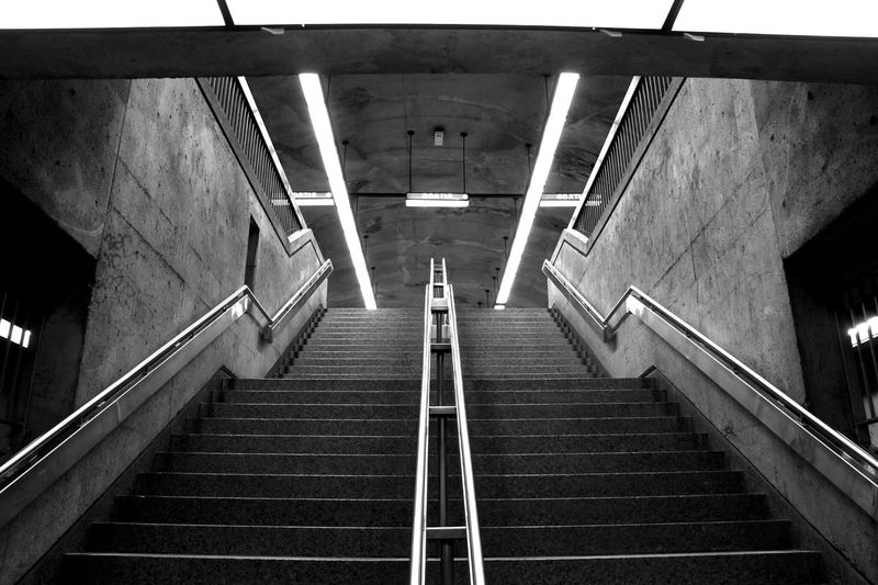 Low Angel View Of Staircase In Subway Station