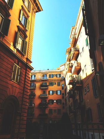 Distinctly Rome. Building Exterior Architecture Built Structure Low Angle View City Residential Building Outdoors Clear Sky No People Sky Balcony Day Townhouse Streets Streetphotography Roma Italia Colours Orange