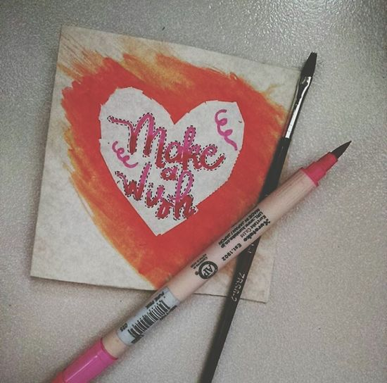 Calligraphy: Make a Wish Handmade Handwriting  Lefthanded Lettering Brushlettering