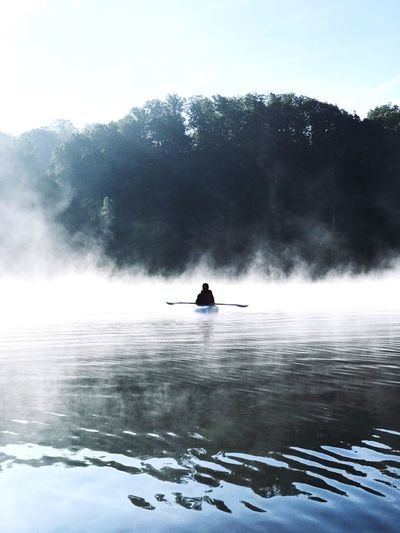Water Nature Beauty In Nature Outdoors One Person Day Scenics Men Motion Real People Sky Fog Adventure Standing Sport Oar Power In Nature Tree Paddleboarding People Kayak Kayaking State Park