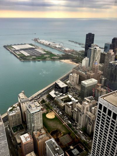 Looking at Navy Pier and The Jardine Water Purification Plant from 96 stories up. Aerial View Architecture Building Exterior Built Structure City Cityscape Day High Angle View Modern No People Outdoors Sky Skyscraper Urban Skyline Water Chicago On Lake Michigan