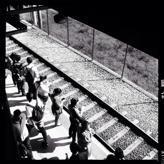 Waiting... Commuting Public Transportation Hipstamatic Black & White