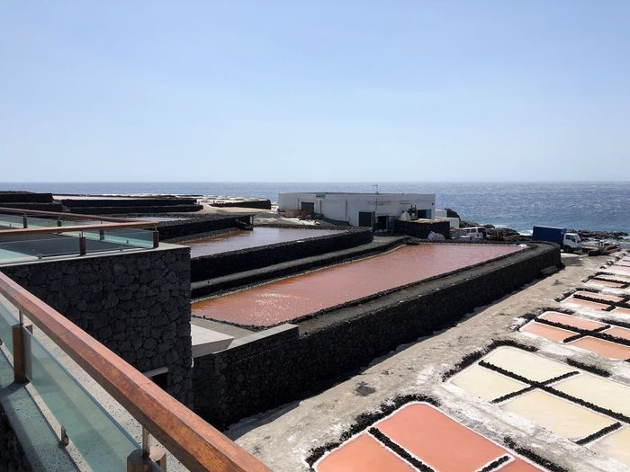Sky Water Sea Clear Sky Architecture Nature Horizon Over Water Day Horizon Roof No People Copy Space Built Structure High Angle View Building Exterior Blue Outdoors Scenics - Nature Beauty In Nature Swimming Pool Salt Flat Salzgewinnungsanlage Salzbecken Küstenpanorama La Palma, Canarias