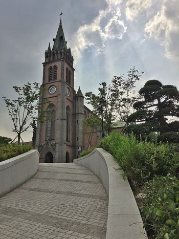 Myeongdong Cathedal Tree Architecture Religion Tower Clock Tower Sky Built Structure History Building Exterior Cloud - Sky Outdoors No People Spirituality Day Travel Destinations Place Of Worship Clock Seoul EyeEmNewHere