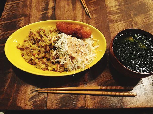 4月8日(金) Dinner 夕食 夜飯 ドライカレー コロッケ アオサのお吸い物