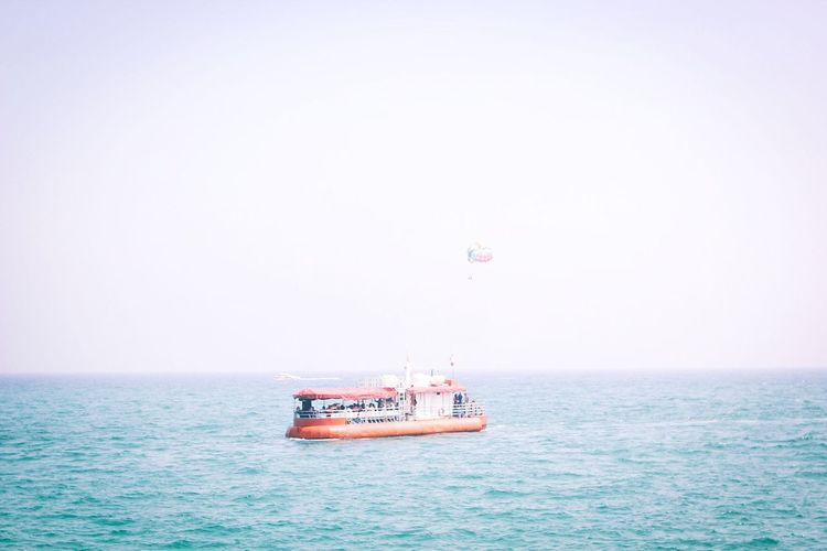 Set sail Sea Clear Sky Transportation Water Nautical Vessel Copy Space Horizon Over Water Waterfront Adventure Sky Sailing Beauty In Nature Outdoors Nature Day Mode Of Transport