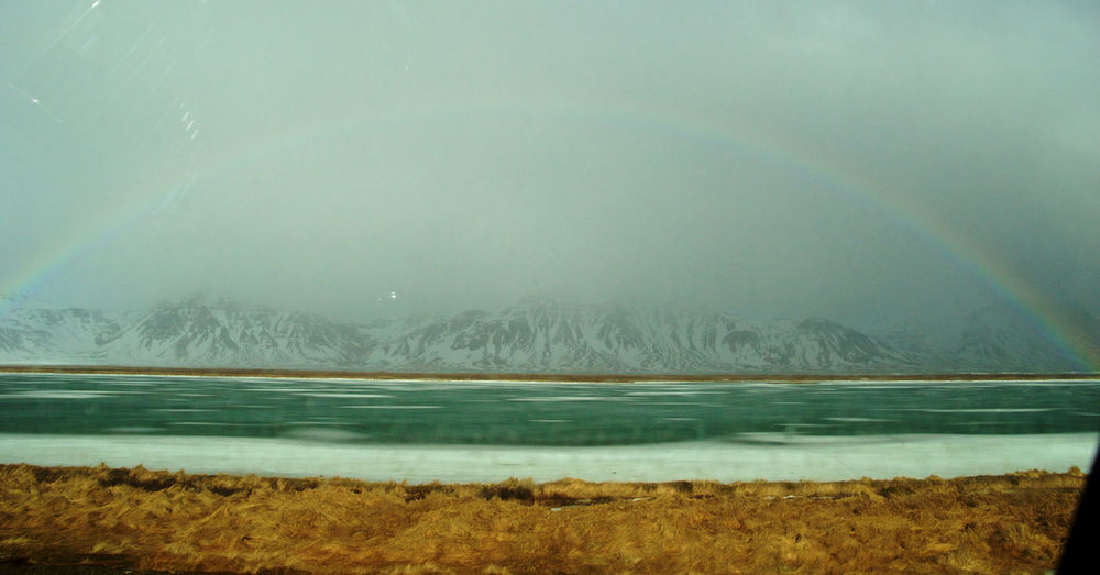 Changing Weather Full Rainbow Ice Iceland Icelandic Weather Landscape Majestic No People Non-urban Scene Outdoors Power In Nature Raibow Remote Roadtrip With The Cousins Tranquil Scene Tranquility