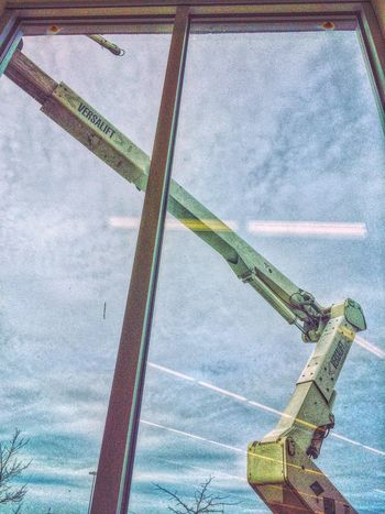 At work and out my window... Working Hard Working Work Store Shop Window Windows Glass Lookingup Crane Cherry Picker Hydraulic White Metal Looking Out Looking Out Of The Window