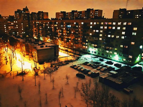 Illuminated Building Exterior City Night Outdoors Cityscape Architecture Tree Sky No People Nature Orange Color Blue Color Oranges And Blues город город Санкт-Петербург двор Ночь с высоты Miles Away ад и рай Hell And Heaven The City Light