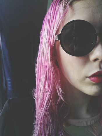 Glasses Relaxing Taking Photos Pink Hair