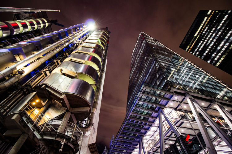 Lloyds building and the Cheesegrater (leadenhall building) Night time shot Architecture Building Exterior Built Structure Cheesegrater Cheesegrater Building City Illuminated LloydsBuilding London Long Exposure Night Outdoors