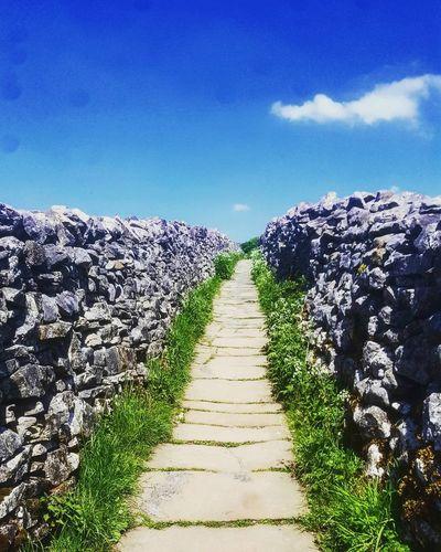 Footpath amidst grass against clear blue sky