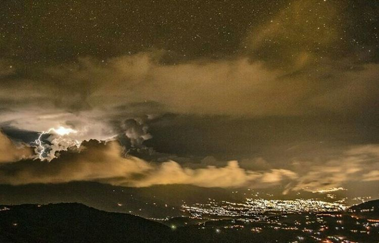 Ishoot Nikonphotography Night Sky Scenics City Nature Cloud - Sky Illuminated Mountain Range Power In Nature Wide Shot Majestic