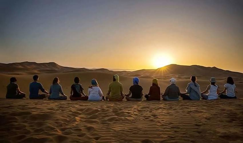 Yoga Sahara Desert Sunrise Rolaxing Moroccan Day Tours Company