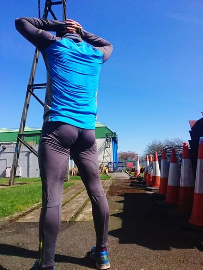 After run stretch 😀🏃♂️ Running Run Jogging Jogging Time Jogger Bum Fitness Training Man Male EyeEm Selects Fitness Motivation Yoga Pose Yoga Exercising Training Exercise Bum Full Length Sport City Clear Sky Blue Sports Clothing Women Standing Sky Running Shorts Strength Training Cross Training