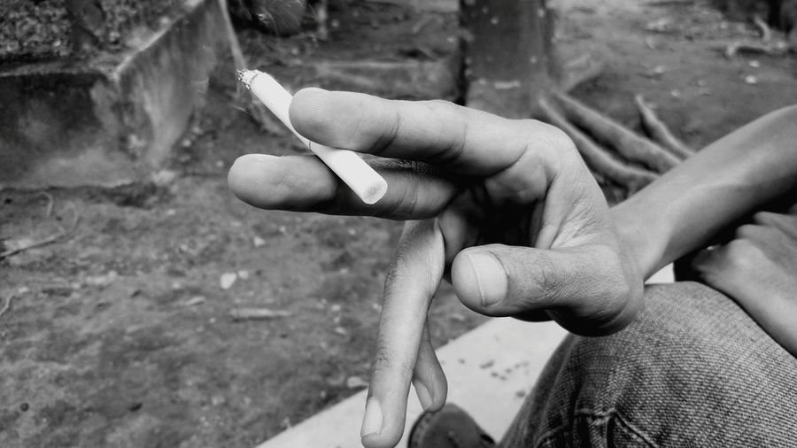 Cropped hand of man holding burnt cigarette