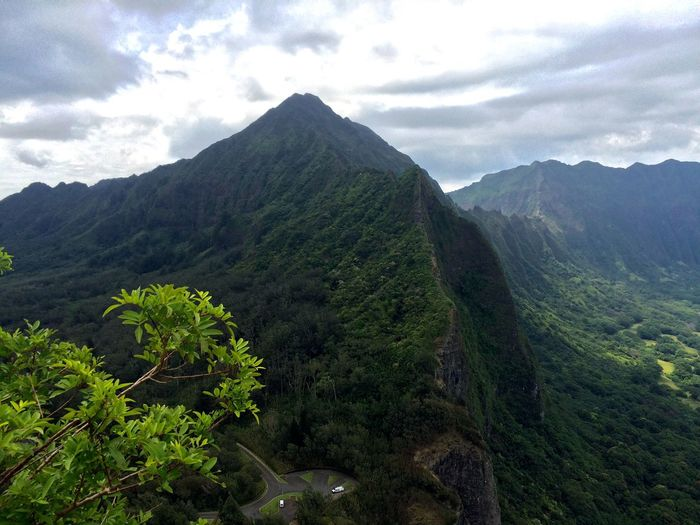Mountain Nature Scenics Beauty In Nature Sky Lush Foliage Cloud - Sky Growth Oahu Hawaii Pali Hwy Pali Lookout Green Color Peak Tree Landscape Tranquil Scene Forest No People Outdoors Day