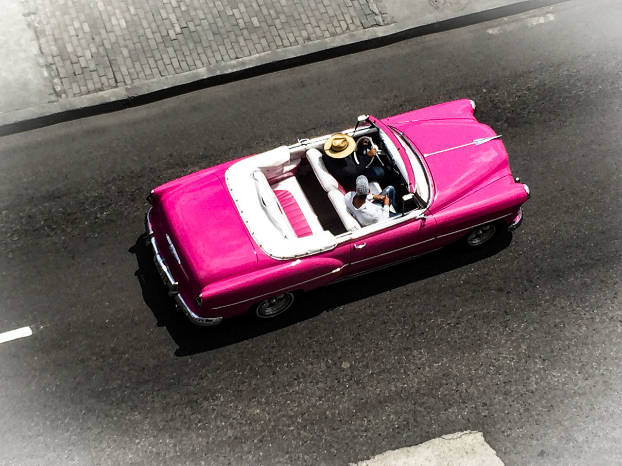 transportation, high angle view, land vehicle, car, mode of transport, pink color, day, outdoors, road, no people, close-up