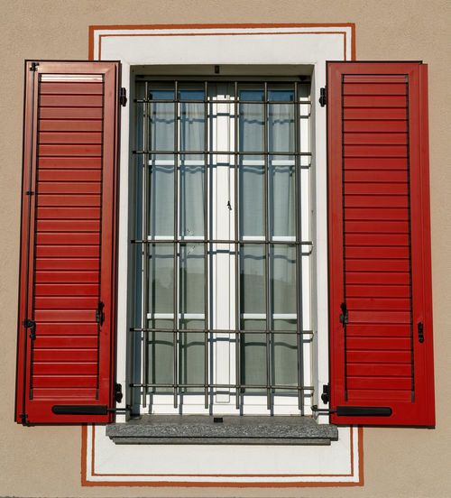 Window in Italy style Window Window Frame Window Box Window Shutters Italy Window Architecture Building Exterior Building Built Structure Red Closed Entrance Door Safety Day Shutter House No People Security Glass - Material Protection Residential District Outdoors Reflection Grid