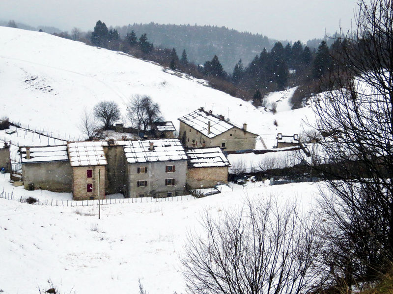 Beauty In Nature Cold Temperature Group Of Houses High Angle View Mountain Nature No People Snow Stone Houses  Tranquil Scene Winter Winter