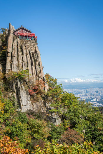 A view of Yeonjudae and Seoul from Gwanaksan in South Korea. Great hike up the mountain to this temple. ASIA Asian  Fall Beauty Fall Colors Hiking Mountain View Rock Rock Formation Seoul Seoul, Korea Sky And Clouds South Korea Temples Adventure Fall Gwanaksan Mountain Mountain Peak Mountains Mountains And Sky Outdoor Outdoor Photography Outdoors Sky Temple First Eyeem Photo