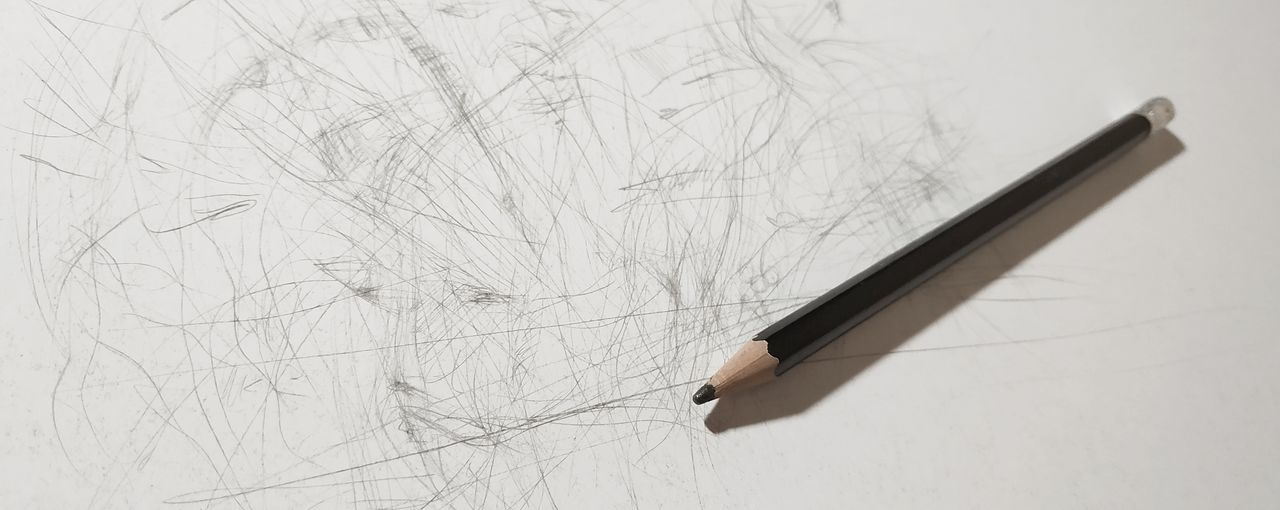 Pencil drawing on a white surface, a pencil Creativity Fantasy Handmade Artist Plot Black And White Nib White Background Education Learning Pencil Close-up Pencil Shavings Pencil Sharpener Pencil Drawing