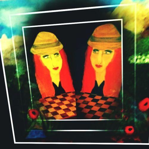 Bildimbild Bildbearbeitung Fotografia Fotografie Foto Kunst Bunt Farbig Sehen Windisch Gemalt Gemälde Erleben Schach Weibchen Frau