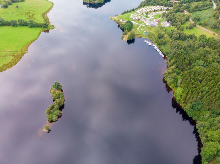 Close-up of leaf floating on lake