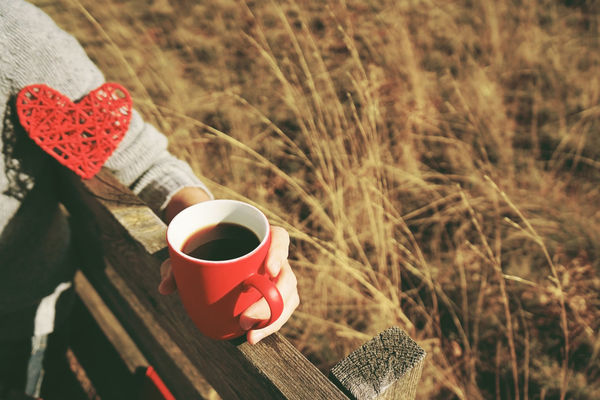Drink Cup Refreshment Mug Food And Drink Red Coffee Coffee Cup Focus On Foreground Coffee - Drink Hot Drink Close-up Day Field Plant Nature Freshness Tea High Angle View Heart Shape No People Outdoors Tea Cup Non-alcoholic Beverage Drinking
