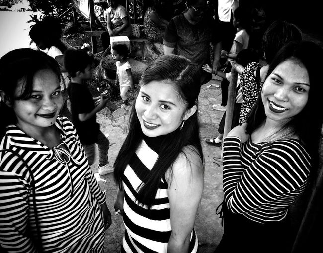 Teenage Moms Striped Group Of People Smiling Portrait Looking At Camera Happiness Urban Fashion Jungle Young Women Real People Togetherness Incidental People Females Lifestyles Women