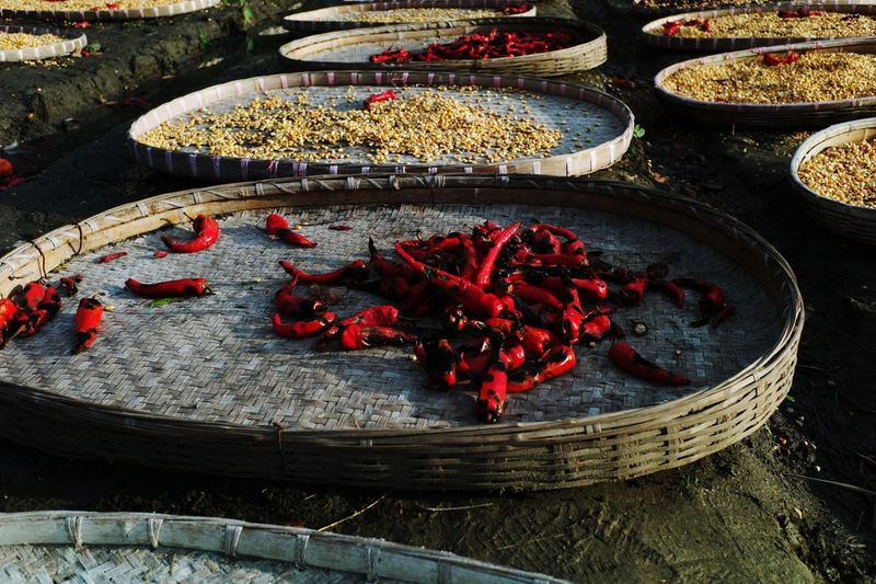 Spices In Wicker Trays Drying Outdoors
