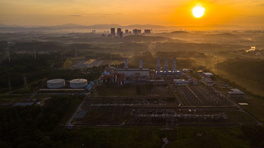 Gas turbine power plant during sunrise