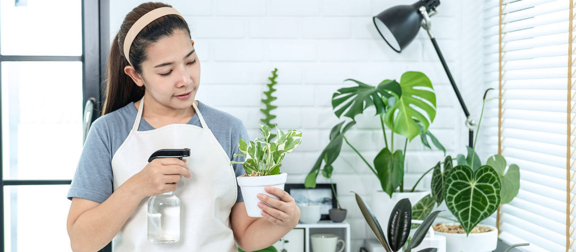 Young man using mobile phone while standing on potted plant