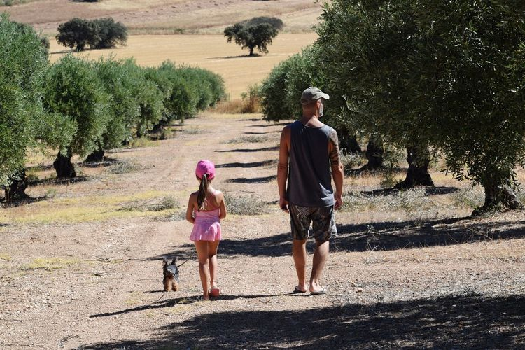 Rear view of girl and father with dog standing on footpath against trees
