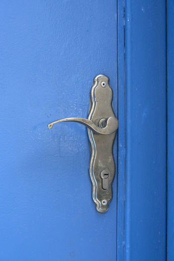 Abstract Blue Close-up Day Door Door Handle Latch Metal No People Outdoors