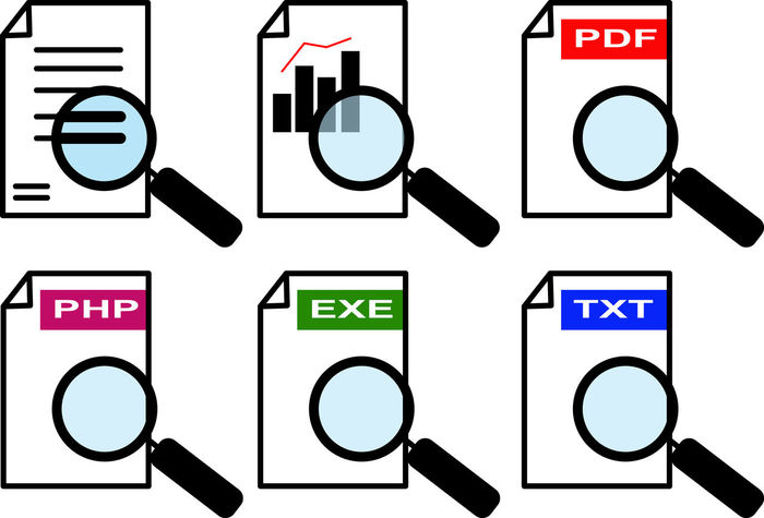 An icon set for a magnifier passing over documents of different formats - Vector Examination File Icon PDF Read Research Sign Analysis Chart Computer Concept Document Evaluation Examine Graphics Magnifier Parsing Php Search Symbol Txt