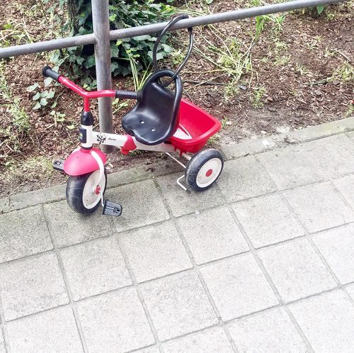 Trike Trikebike Tricycle Transportation Grass Toy Childhood Shadow High Angle View Scooter Cycle Day Paving Stone Bike