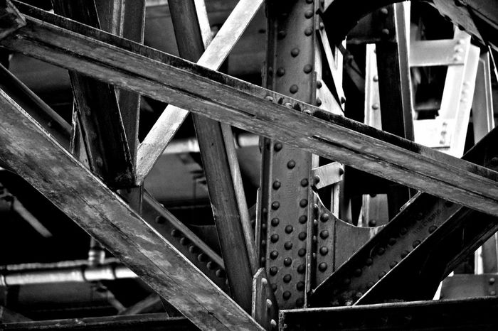 Iron Bridge Bw Contrast Eisen Industrialization Kontrast Metal Railroad Stahl Steel Structure