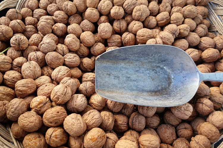 Full frame shot of walnuts for sale