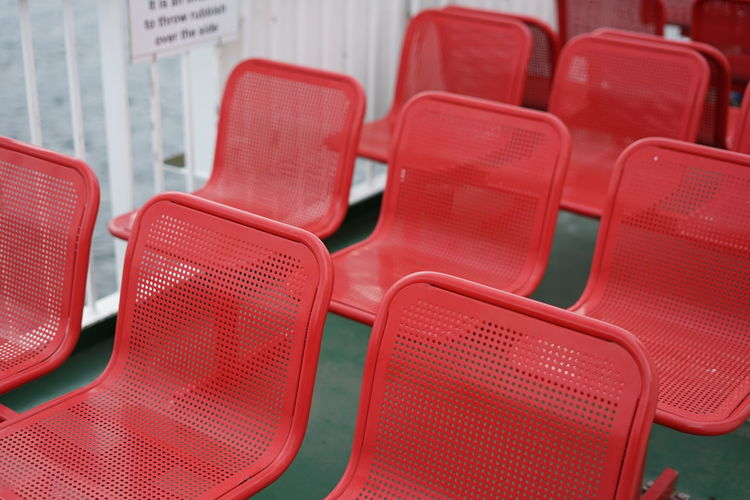 Close-up of empty chairs