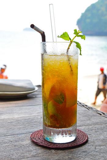 Long island iced tea on table