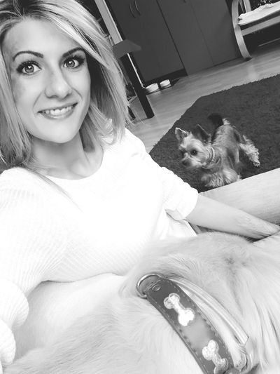 Dog Day Blonde Girl Happy Day Smile Selfie Blackandwhite Home Sweet Home Women