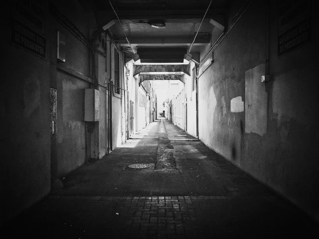 Abandoned aisle in Napier Empty No People The Way Forward Built Structure Architecture Passageway Aisle 21 Lines And Shapes Blackandwhite First Eyeem Photo