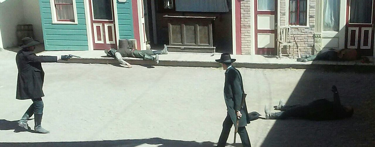 Gunfight At The O.K. Corral Doc Holliday Wyatt Earp WildwestIm your huckleberry! This was AWESOME! Those were the days👍