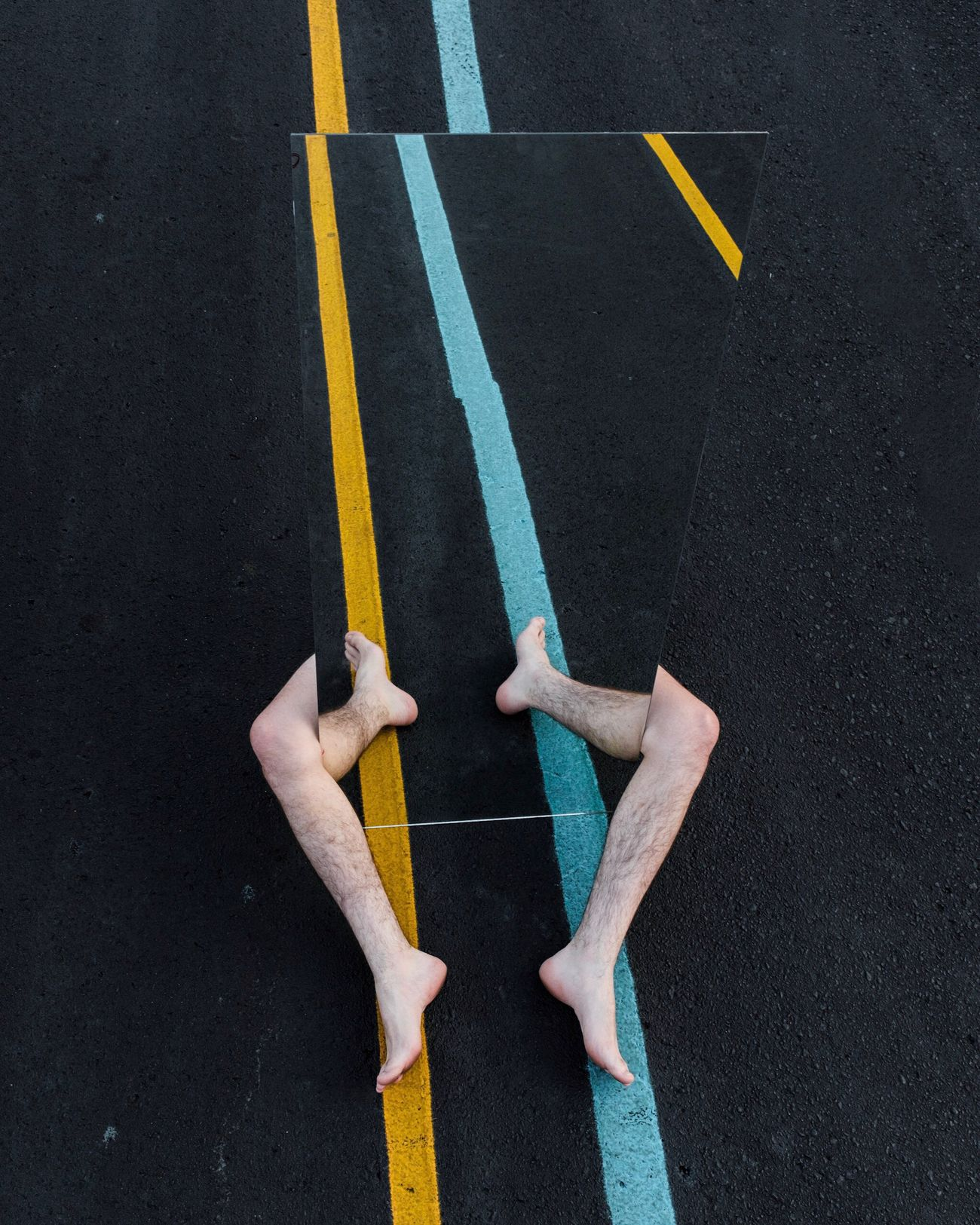 road marking, high angle view, two people, yellow, real people