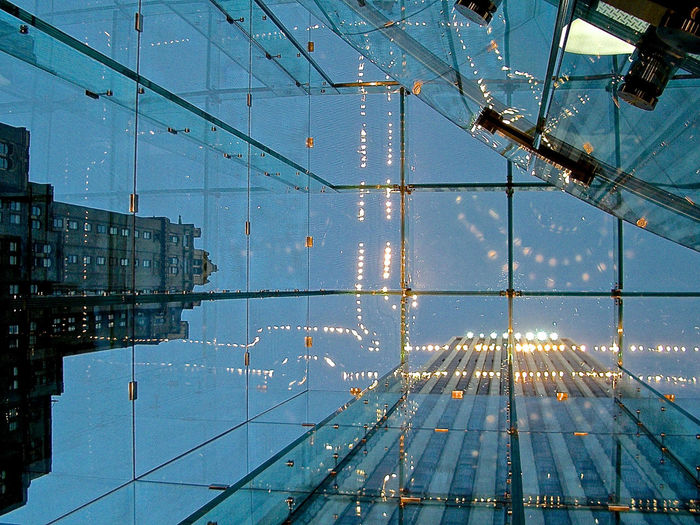 Backgrounds Built Structure City Sky Day Electricity  Glass Ceiling Illuminated Look Up And Thrive Modern No People NYC Photography Reflections See Through Sky Skyscraper Technology The Cube Transparency Innovation Future Vision Presentation Background