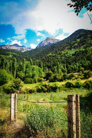 Mountain Tranquil Scene Scenics Tranquility Fence Beauty In Nature Mountain Range Nature Remote Wooden Post Countryside Majestic Outdoors Day Check This Out EyeEm Gallery Profundidad Landscapes Pirineo Aragonés Pirineos Mountain Peak Learn & Shoot: Balancing Elements Nature Travel